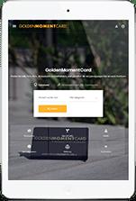 iPad mit GoldenMomentCard Webseite
